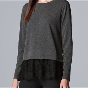 Simply Vera Gray Lace Detail Long Sleeve Blouse